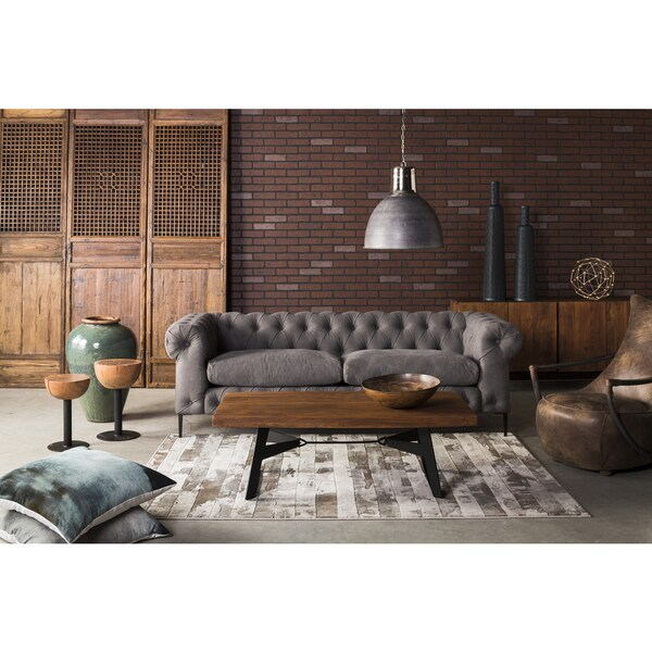 Aurelle Home Era Grey Modern Chesterfield Sofa