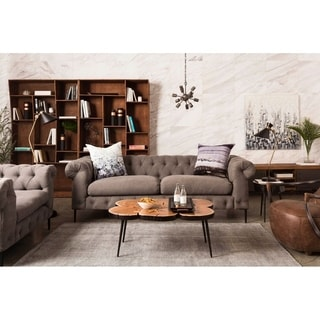 Aurelle Home Era Grey Tufted Chesterfield Sofa