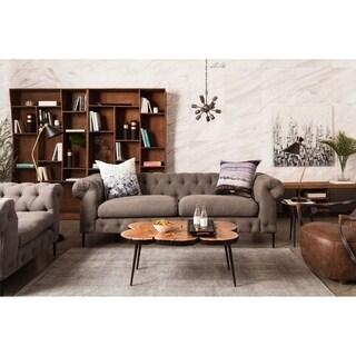 Aurelle Home Grey Modern Chesterfield Sofa