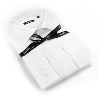 Georges Rech Men's White/ Floral Collar Button-down Dress Shirt