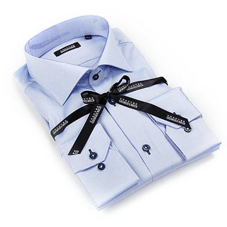 Georges Rech Men's Blue and White Checkered Dress Shirt