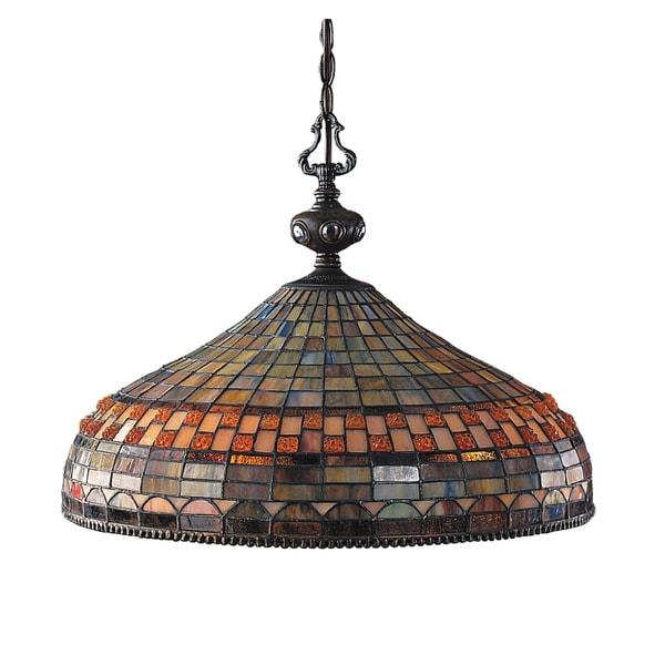 Jewelstone 3-light Classic Bronze Pendant