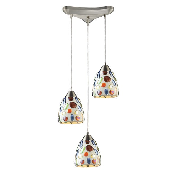 Elk Lighting Gemstone 3-light Satin Nickel Pendant