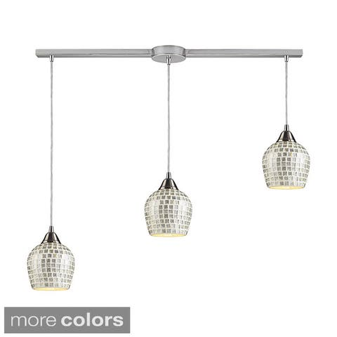 Elk Lighting Fusion Mosaic Glass 3-light Satin Nickel Linear Pendant