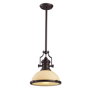 Elk LIghting Chadwick Single-light Oiled Bronze Cream Shade Pendant