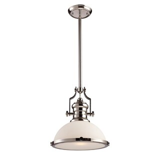 Elk Lighting Chadwick Single-light Polished Nickel White Glass Medium Pendant