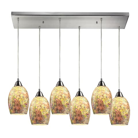 Elk Lighting Avalon 6-light Satin Nickel Multicolor Shade Pendant