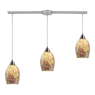 Elk Lighting Avalon 3-light Satin Nickel Linear Crackle Glass Pendant