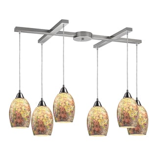 Elk Lighting Avalon 6-light Satin Nickel Multicolor Crackle Glass Pendant