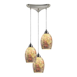 Elk Lighting Avalon 3-light Satin Nickel Cluster Multicolor Crackle Glass Pendant