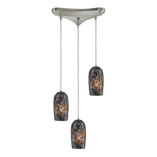 Collage 3-light Satin Nickel Pendant with Multicolored Glass Shades