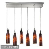 Elk Lighting Lungo 6-light Satin Nickel/ Glass Pendant