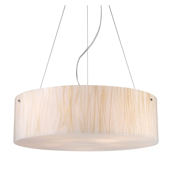 Modern Organics 5-light Polished Chrome/ White Sawgrass Pendant