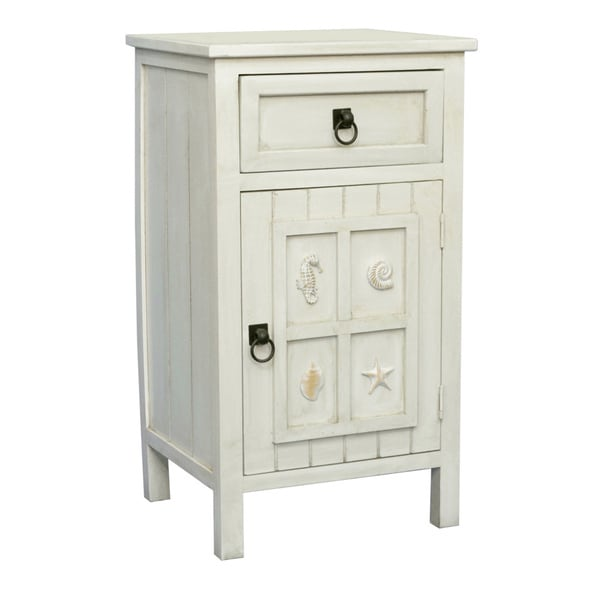 Gallerie Decor Antique White Coastal Wood Table   Free Shipping Today    Overstock.com   16679614