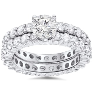 14K White Gold 4ct TDW Diamond Eternity Engagement/ Wedding Ring Set