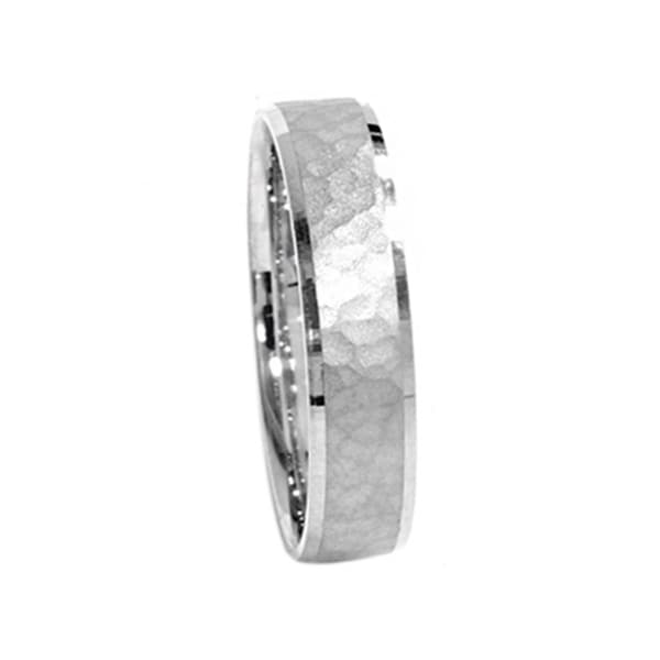 10k White Gold Mens 5mm Hammered Wedding Band Free Shipping