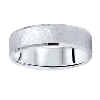 14k White Gold Men's 6mm Hammered Wedding Band