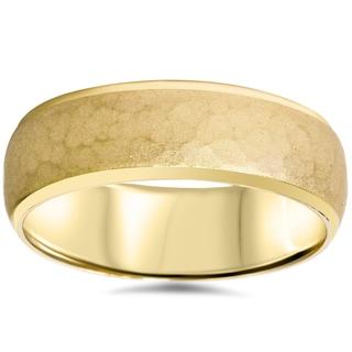 14k yellow gold mens 7mm hammered wedding band