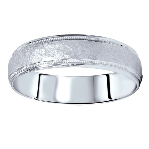 Shop 14k White Gold Men's 6mm Hammered Wedding Band