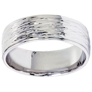 10k White Gold Men's 6 mm Hand Etched Wedding Band
