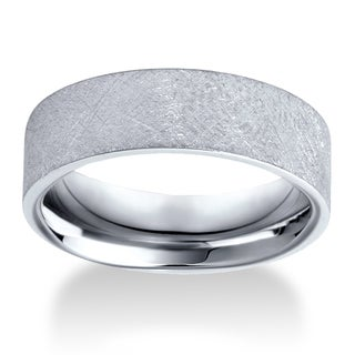 10k White Gold Men's 6mm Flat Brushed Wedding Band