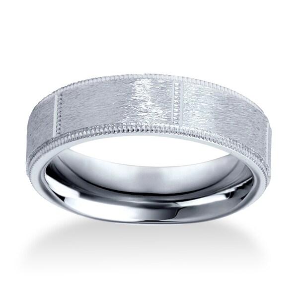Wedding Band 10k White Gold 6mm: Shop Bliss Men's 10k White Gold 6mm Brushed Comfort Fit