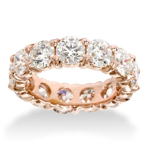 14k Rose Gold 5.5ct TDW Eternity Diamond Anniversary Ring