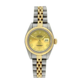 Pre-Owned Rolex Women's 79173 Datejust Stainless Steel/ 18k Gold Champagne Roman Watch