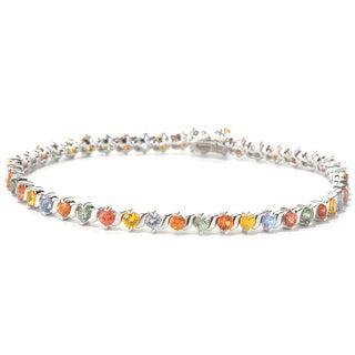 Sterling Silver Multi-color Sapphire Bracelet