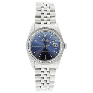 Pre-Owned Rolex Men's 16220 Datejust Stainless Steel Jubilee Bracelet Blue Dial Watch
