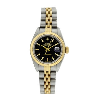 Pre-owned Rolex Women's 79173 Datejust Stainless Steel 18k Gold Black Dial Watch