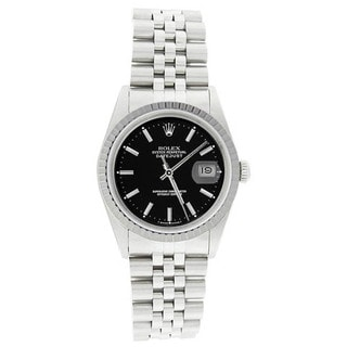 Pre-owned Rolex Men's 16220 Datejust Stainless Steel Jubilee Bracelet Black Dial Watch
