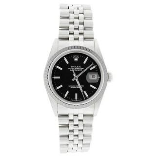Pre-owned Rolex Men's 16220 Datejust Stainless Steel Jubilee Bracelet Black Dial Watch