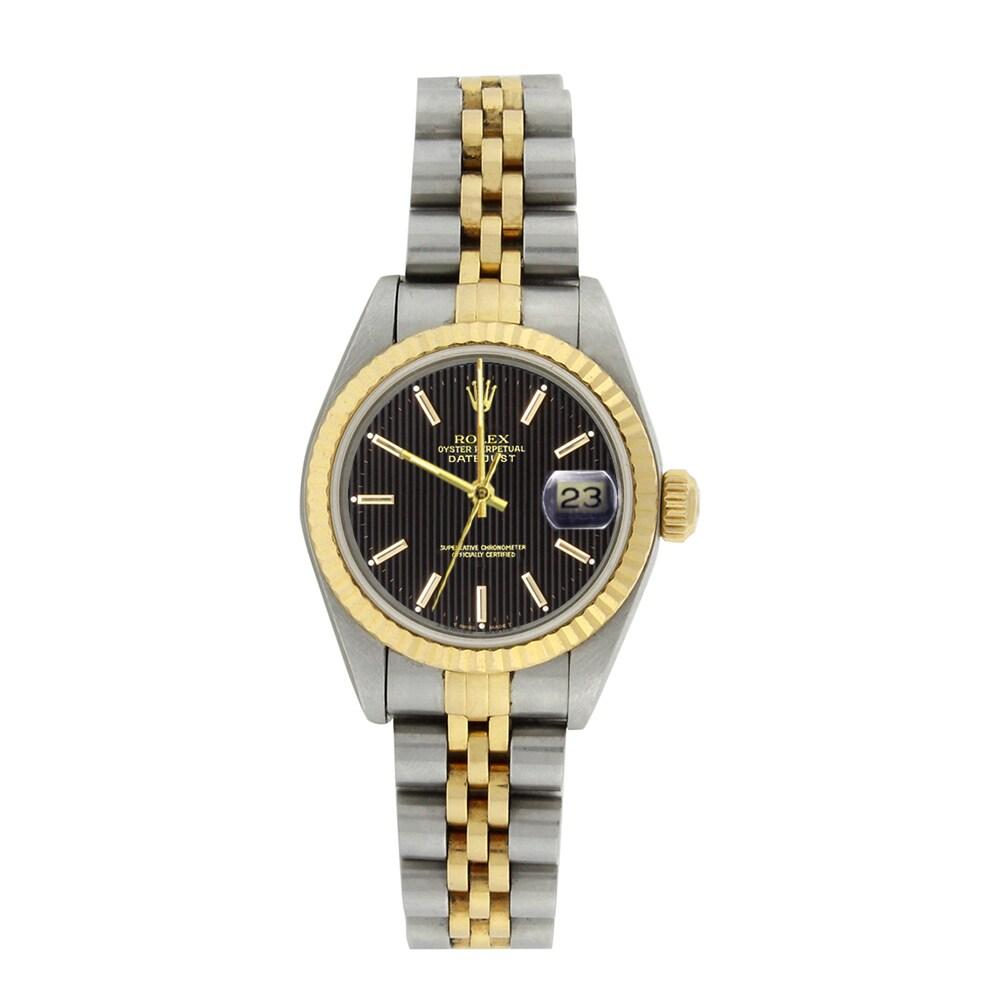 Rolex Datejust Ladies 18K Yellow Gold Steel Watch Jubilee...