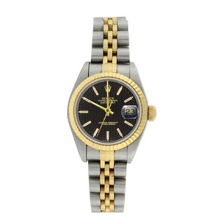 Pre-owned Rolex Women's 79173 Datejust Stainless Steel 18k Gold Black Tapestry Watch