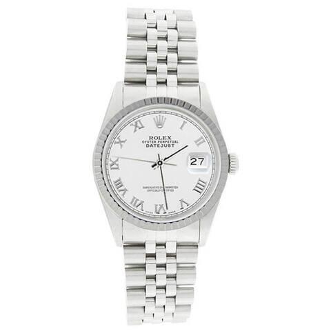 Pre-owned Rolex Men's 16220 Datejust Stainless Steel Jubilee Bracelet White Roman Watch