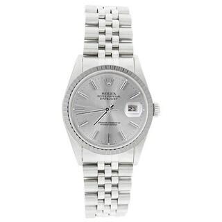 Pre-owned Rolex Men's 16220 Datejust Stainless Steel Jubilee Bracelet Silver Stick Watch