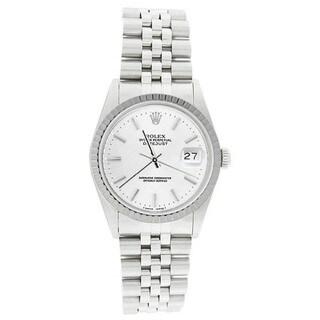 Pre-owned Rolex Men's 16220 Datejust Stainless Steel Jubilee Bracelet White Stick Watch