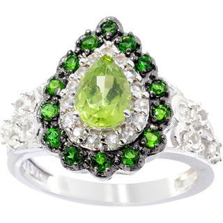 Sterling Silver Peridot Chrome Diopside White Topaz Drop Ring