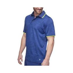 Men's Fila Camo Polo Shirt Blue Depths Jacquard/Blue Depths/Safety Yellow