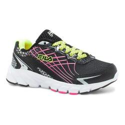 Girls' Fila Core Callibration 2 Running Shoe Black/Safety Yellow/Knockout Pink