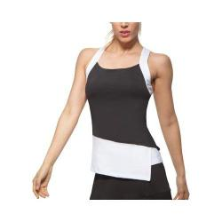 Women's Fila Platinum Asymmetrical Tank Black/White/Teal Piranha