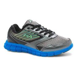 Children's Fila Proze Running Shoe Dark Silver/Electric Blue/Safety Yellow