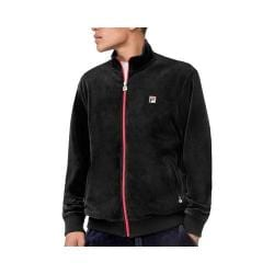Men's Fila Slim Velour Jacket Black/Black/Chinese Red