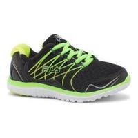 Girls' Fila Swept Training Shoe Black/Green Gecko/Safety Yellow