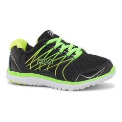 Girls' Fila Swept Training Shoe Black/Green Gecko/Safety Yellow