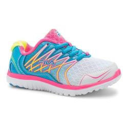 Girls' Fila Swept Training Shoe White/Atomic Blue/Knockout Pink