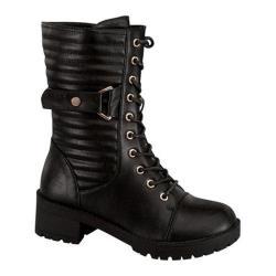 Women's Wild Diva Darian-14 Combat Boot Black Faux Leather