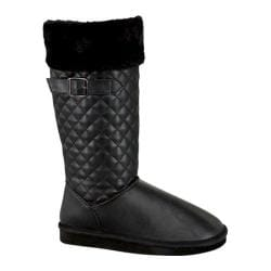 Women's Wild Diva Aling-83 Mid Calf Boot Black Faux Leather/Faux Wool