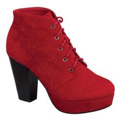 Women's Wild Diva Camille-86 Ankle Boot Red Faux Suede